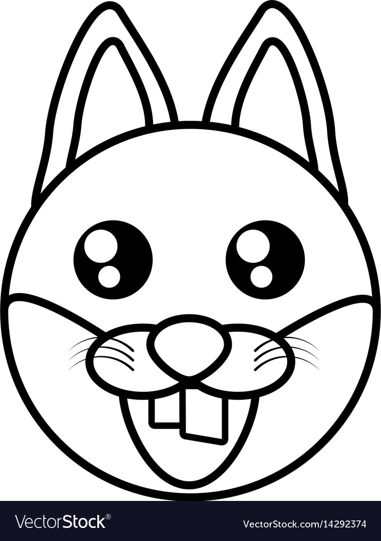 Fox face animal outline vector image