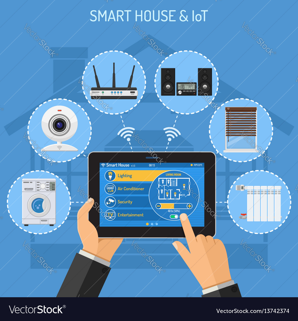 Smart house and internet of things Royalty Free Vector Image