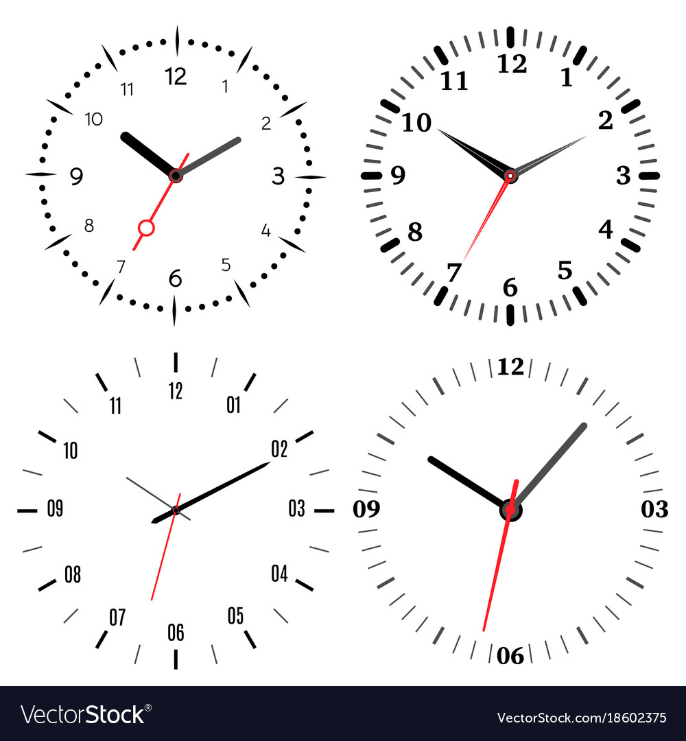 A set of four mechanical clocks Royalty Free Vector Image