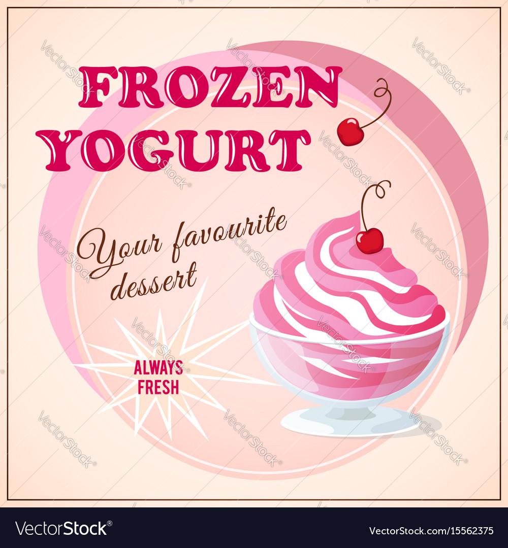Banner with cherry frozen yogurt vector image