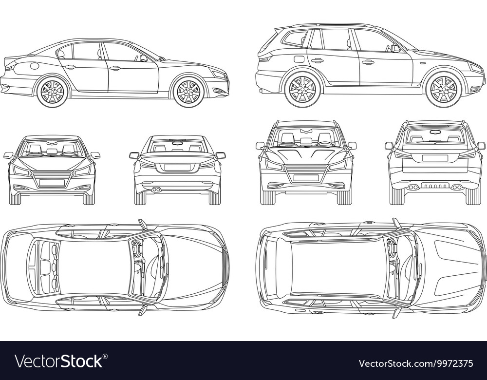 Car Sedan And Suv Line Draw Four All View Top Side