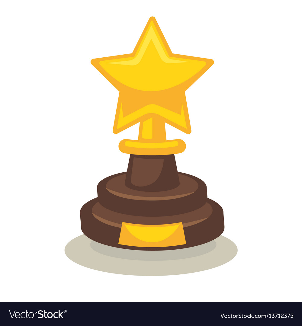 Trophy in form of star on pedestal isolated on vector image