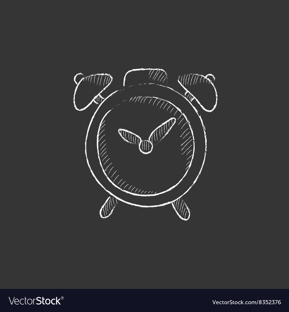 Alarm clock Drawn in chalk icon vector image