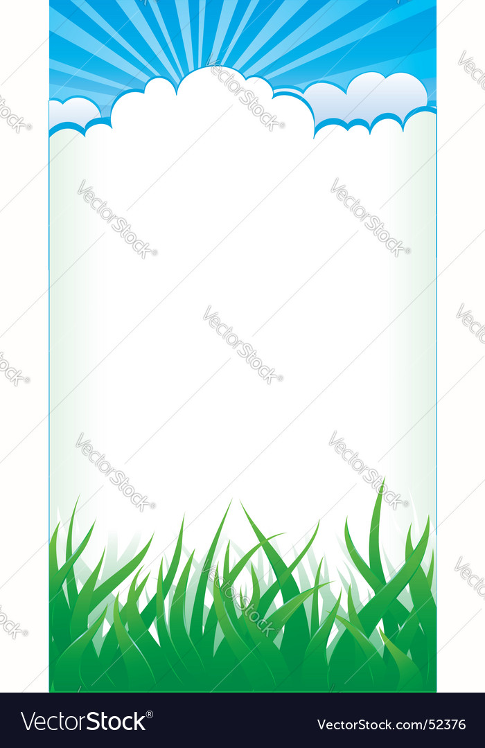 Grass and clouds vector image