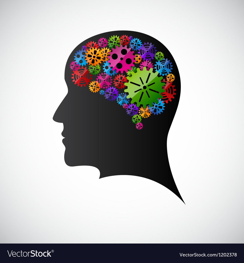 Gears in the mind profile vector image