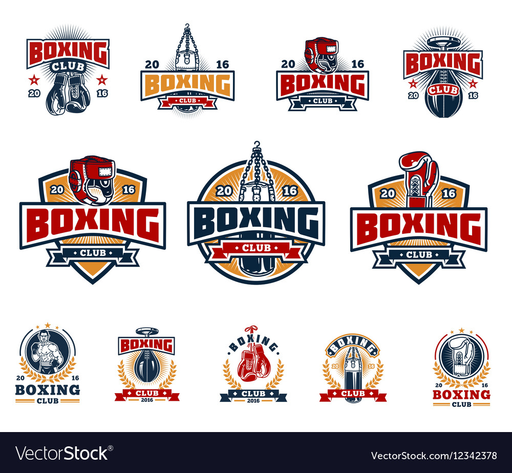 Set boxing badges stickers isolated on white vector image