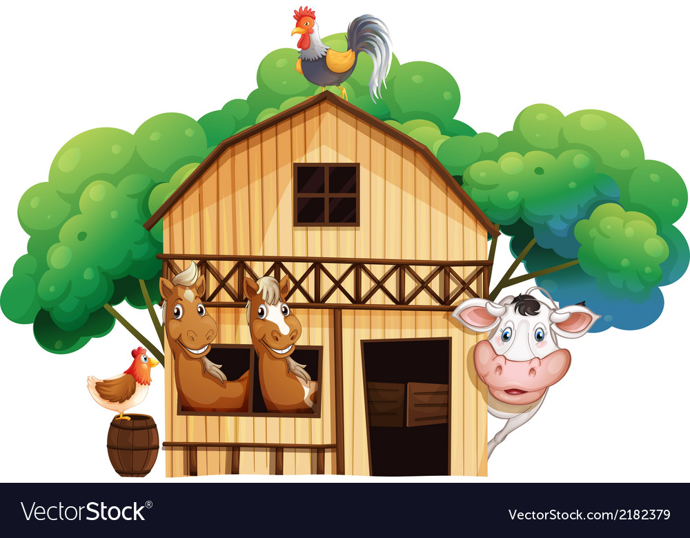 A Farmhouse With Animals Vector Image