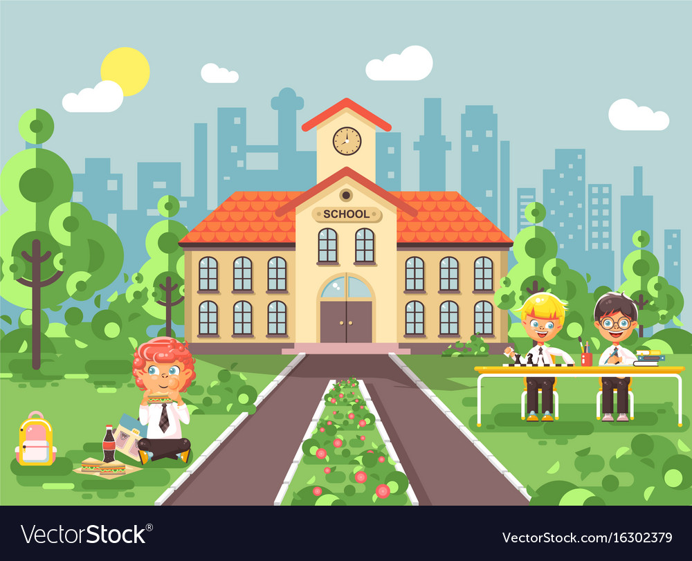 Children characters schoolboys vector image