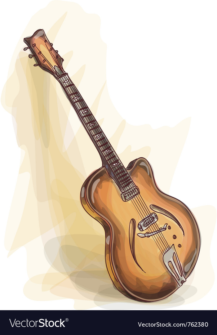 Bass guitar watercolor style vector image
