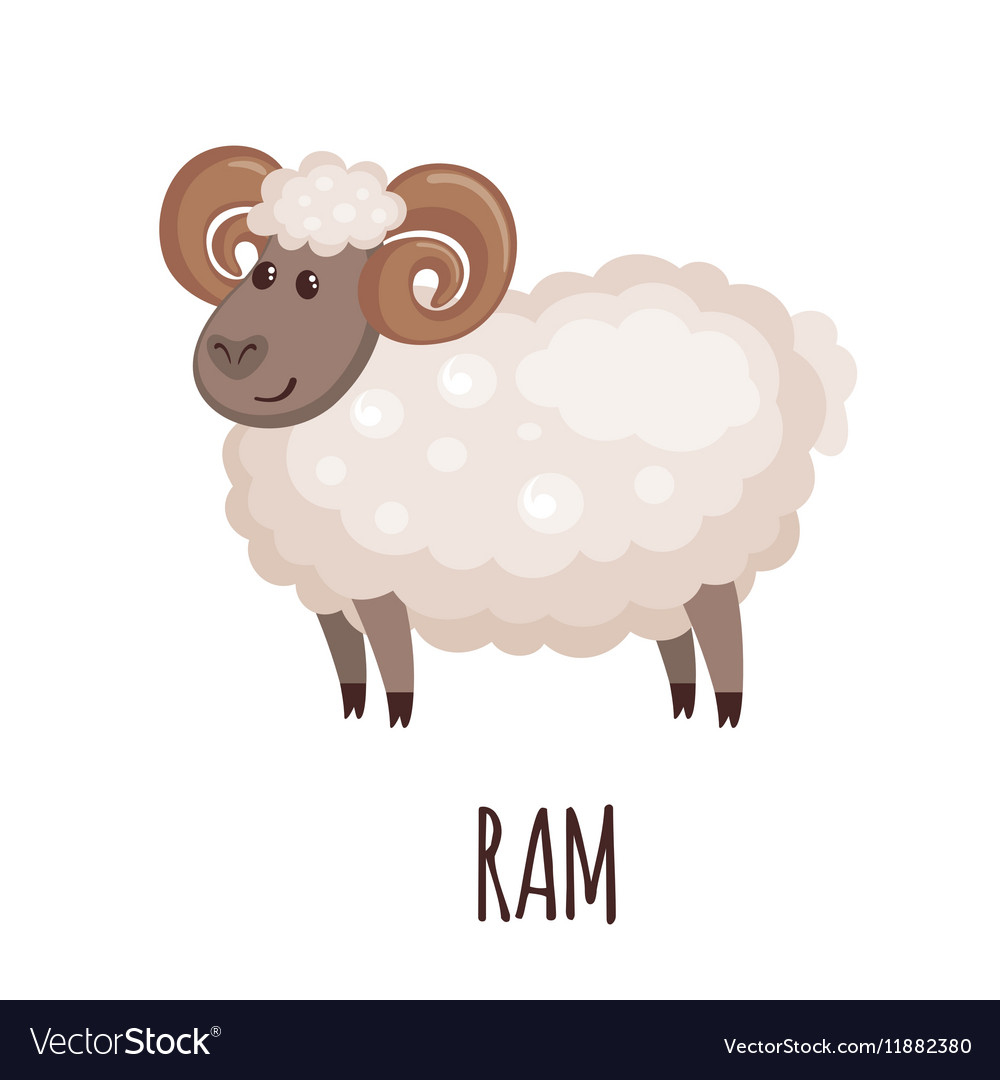 Cute ram in flat style vector image