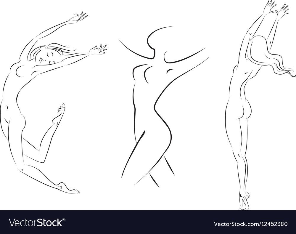Line woman vector image