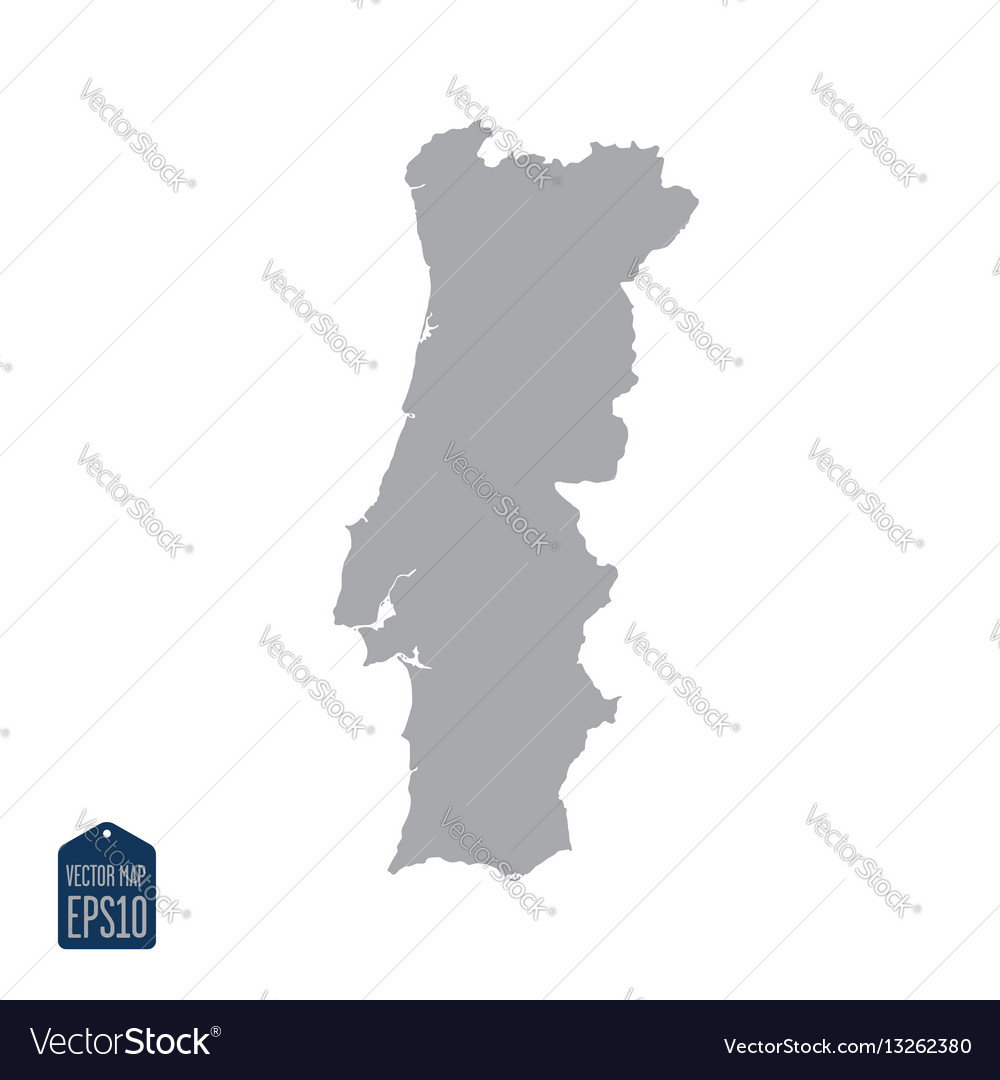 Portugal map silhouette vector image