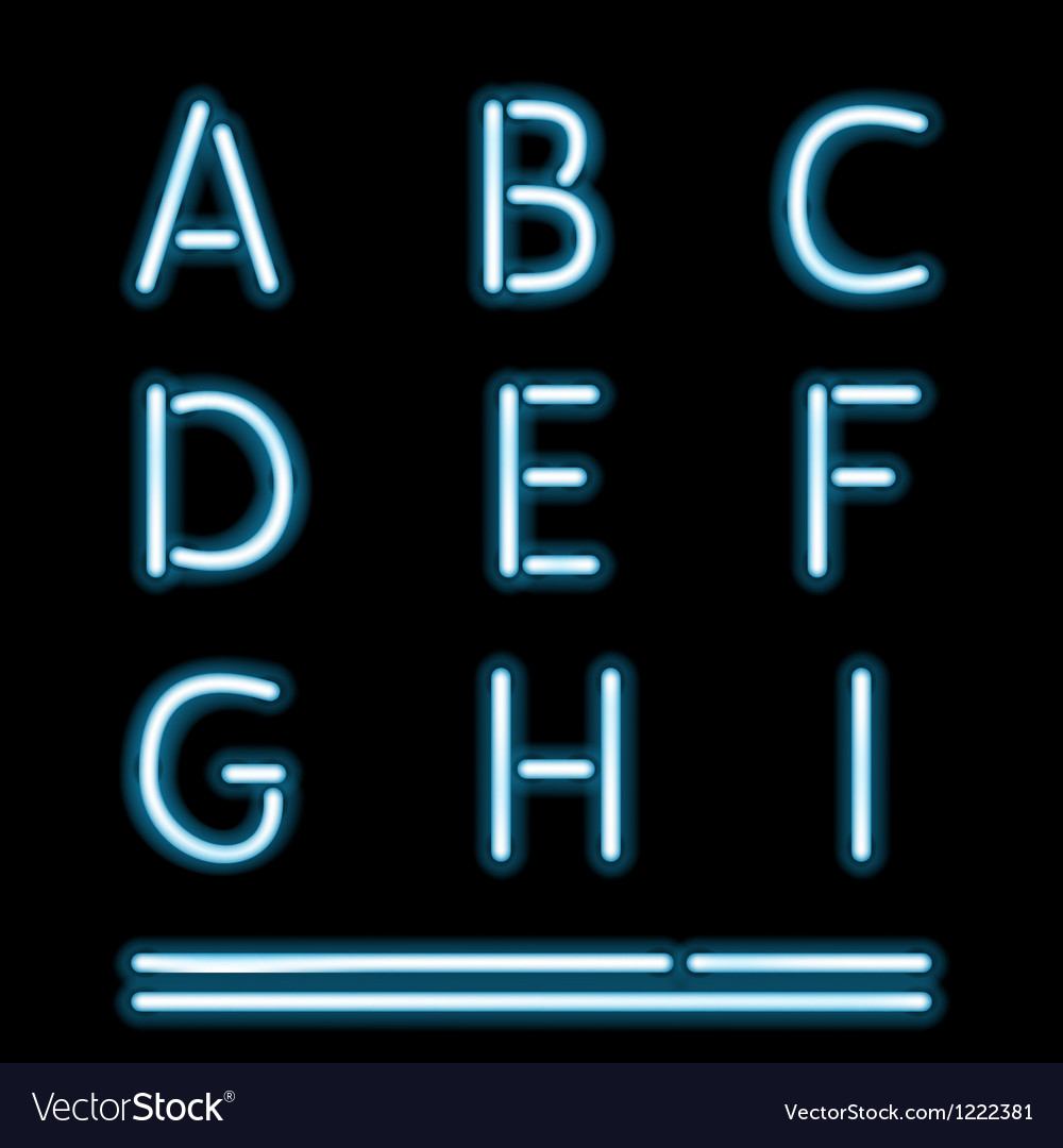 Neon Light Alphabet 1 vector image