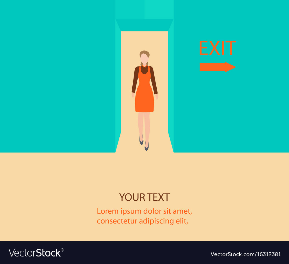 Business woman walk through a door with exit sign vector image