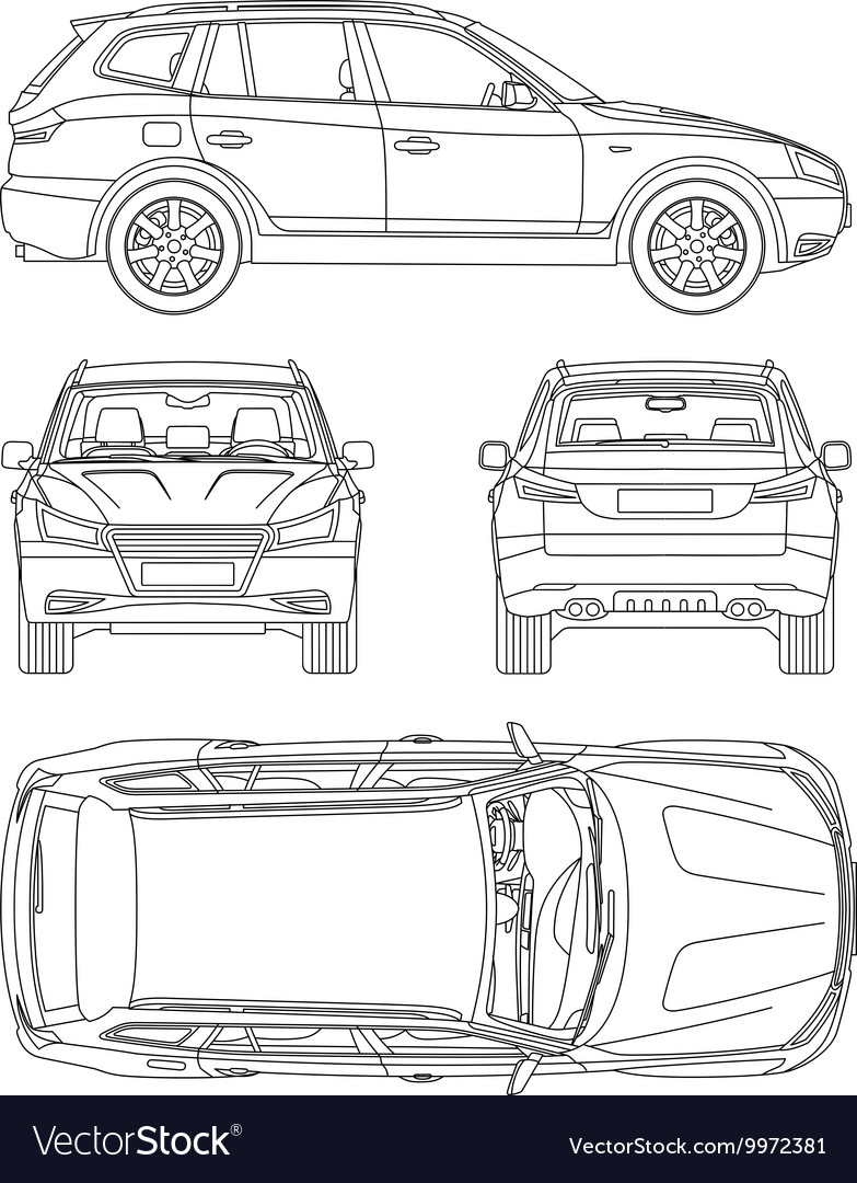 Car suv 4x4 line draw rent damage condition Vector Image