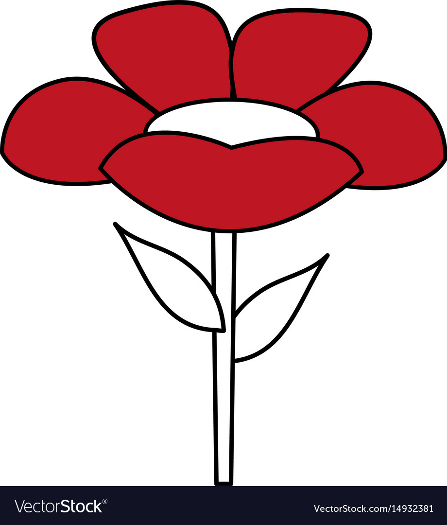 Color silhouette with cartoon flower with stem and vector image