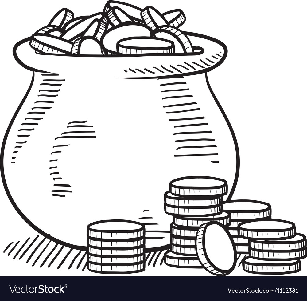 doodle pot of gold royalty free vector image vectorstock