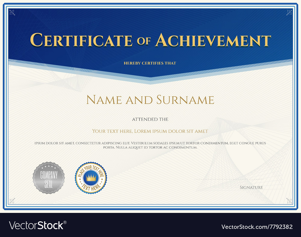 Certificate Achievement Template Blue Theme Vector Image  Certificate Achievement Template