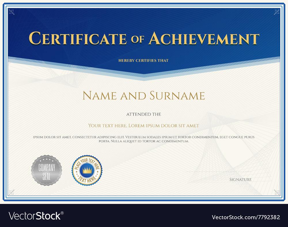 Certificate achievement template blue theme vector image certificate achievement template blue theme vector image xflitez Choice Image