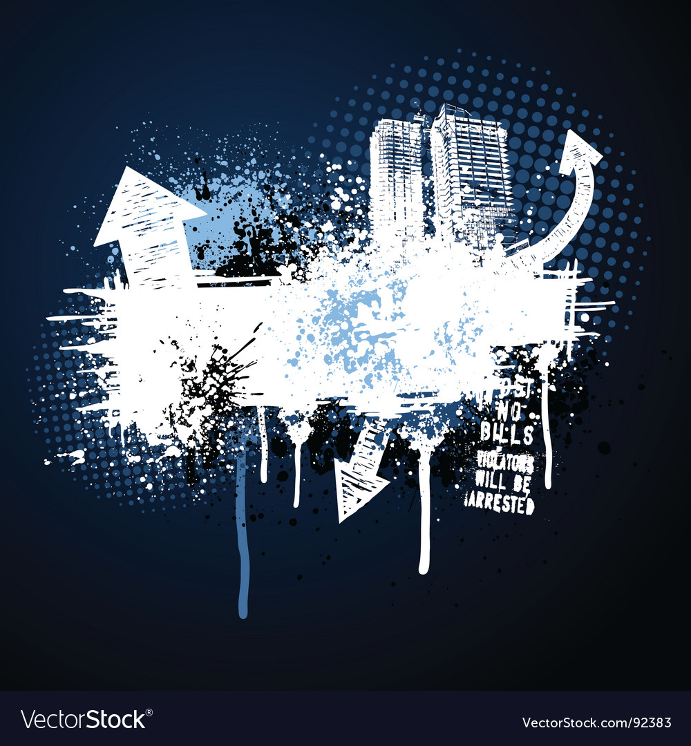 Dark blue grunge city frame vector image