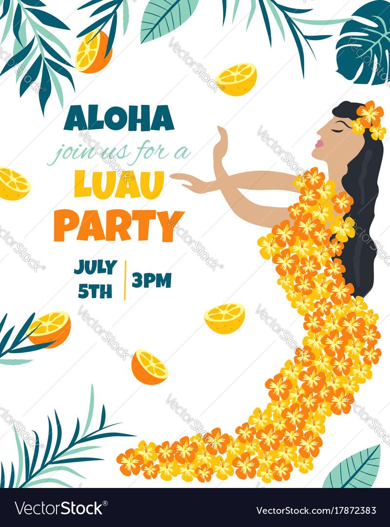 Tropical hawaiian poster with a girl vector image