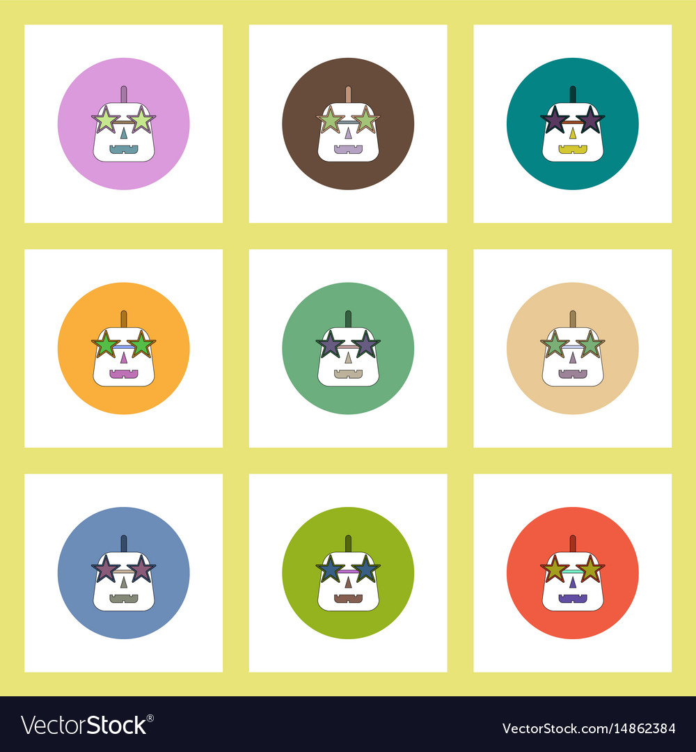 Flat icons halloween set of pumpkin and star vector image