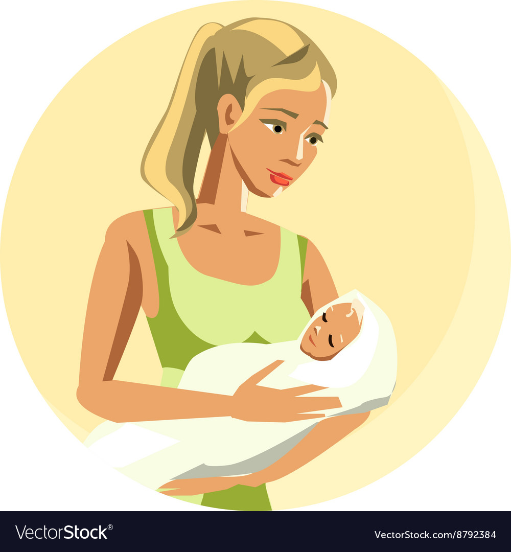 Loving mother rocking newborn baby vector image