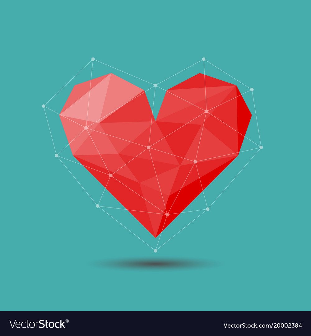 Polygon red heart icon for valentines day vector image
