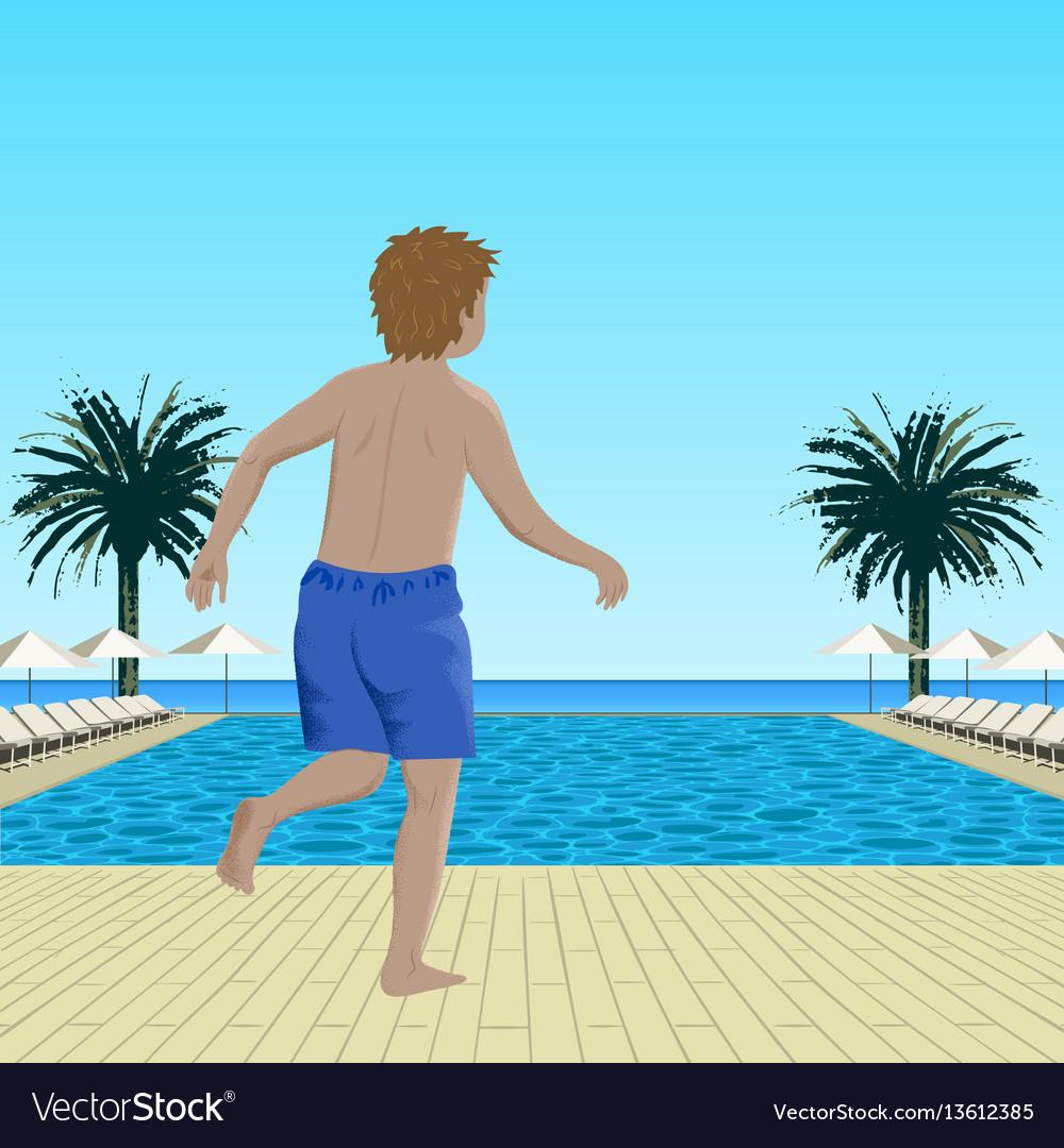 Running boy near swimming pool vector image