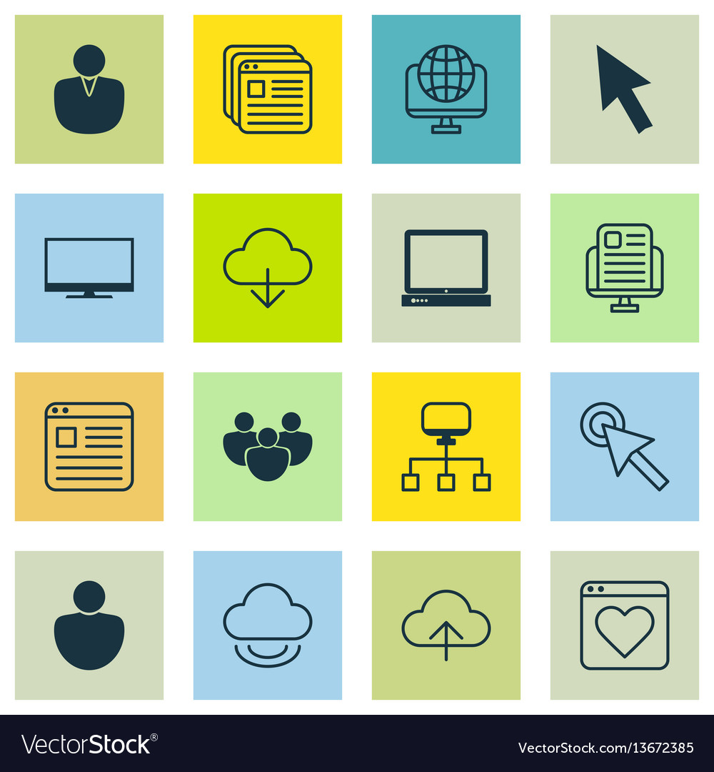 Set of 16 world wide web icons includes blog page vector image
