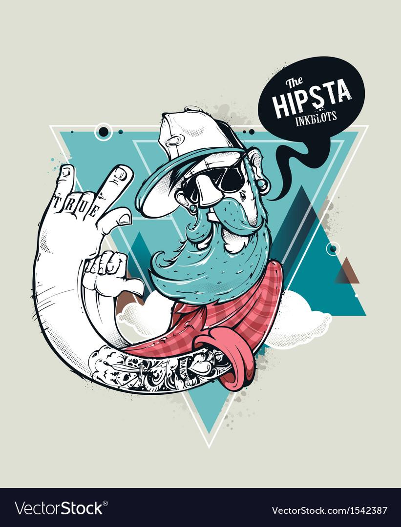 Hipster graffiti character vector image