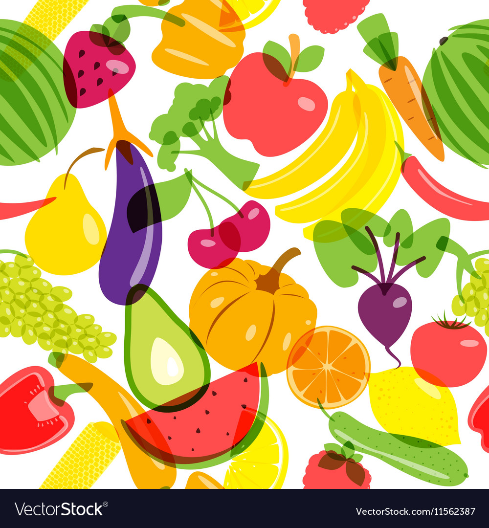 Seamless background vegetarian products vector image