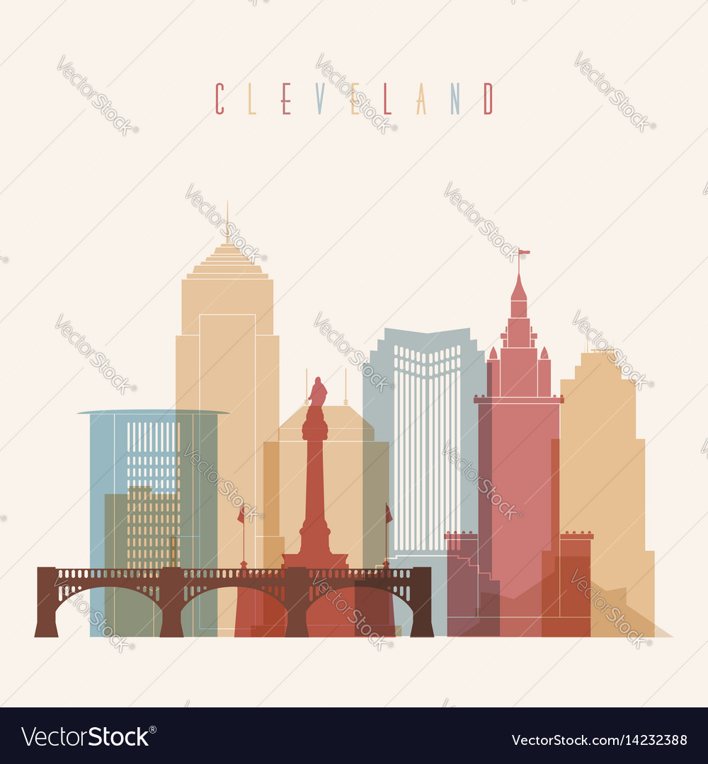 Cleveland skyline city multicolor silhouette vector image
