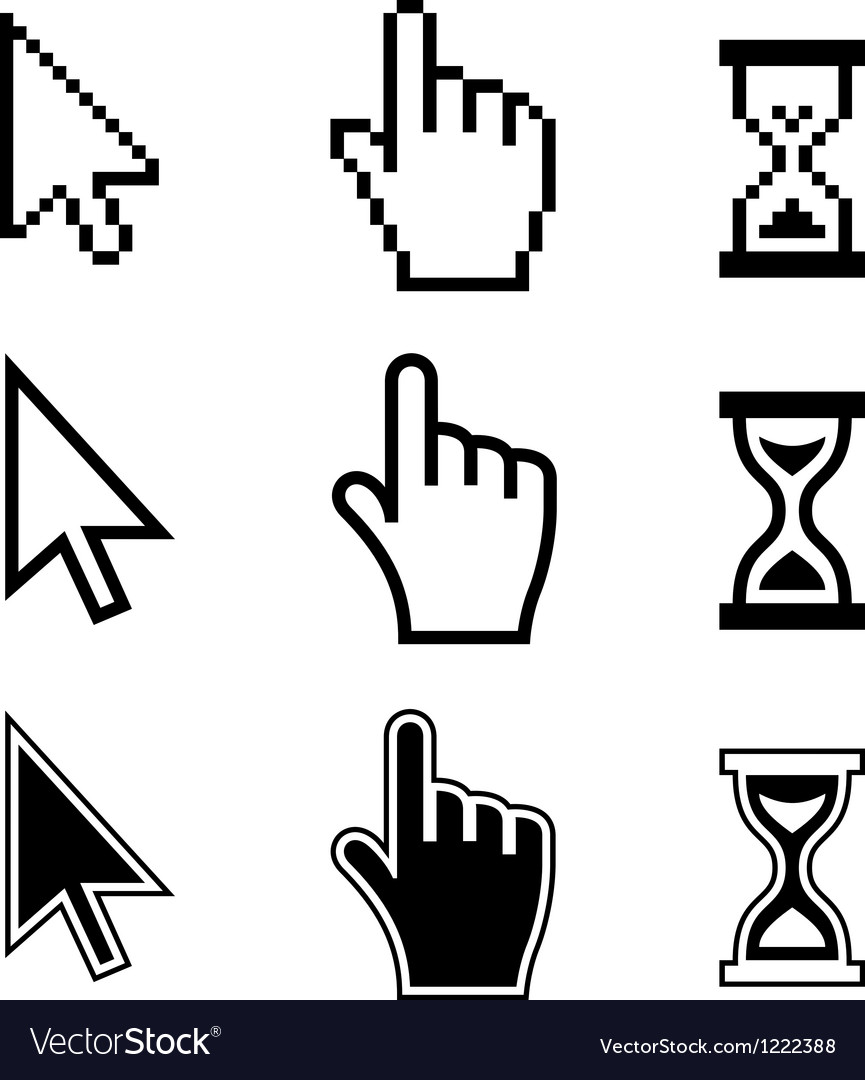 Pixel cursors icons Hand Arrow Hourglass vector image