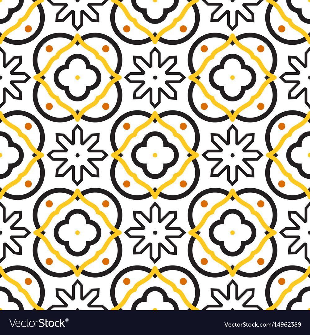 Azulejos black and white mediterranean seamless vector image