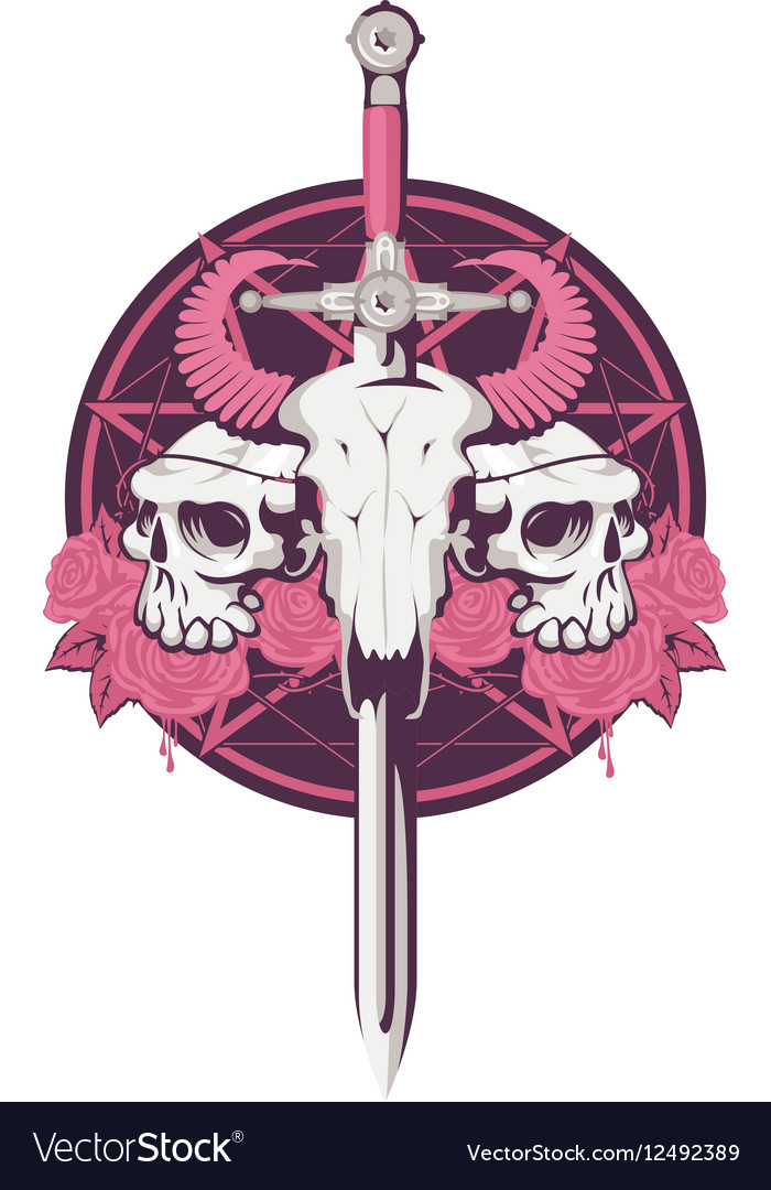 Bull and human skull with sword vector image