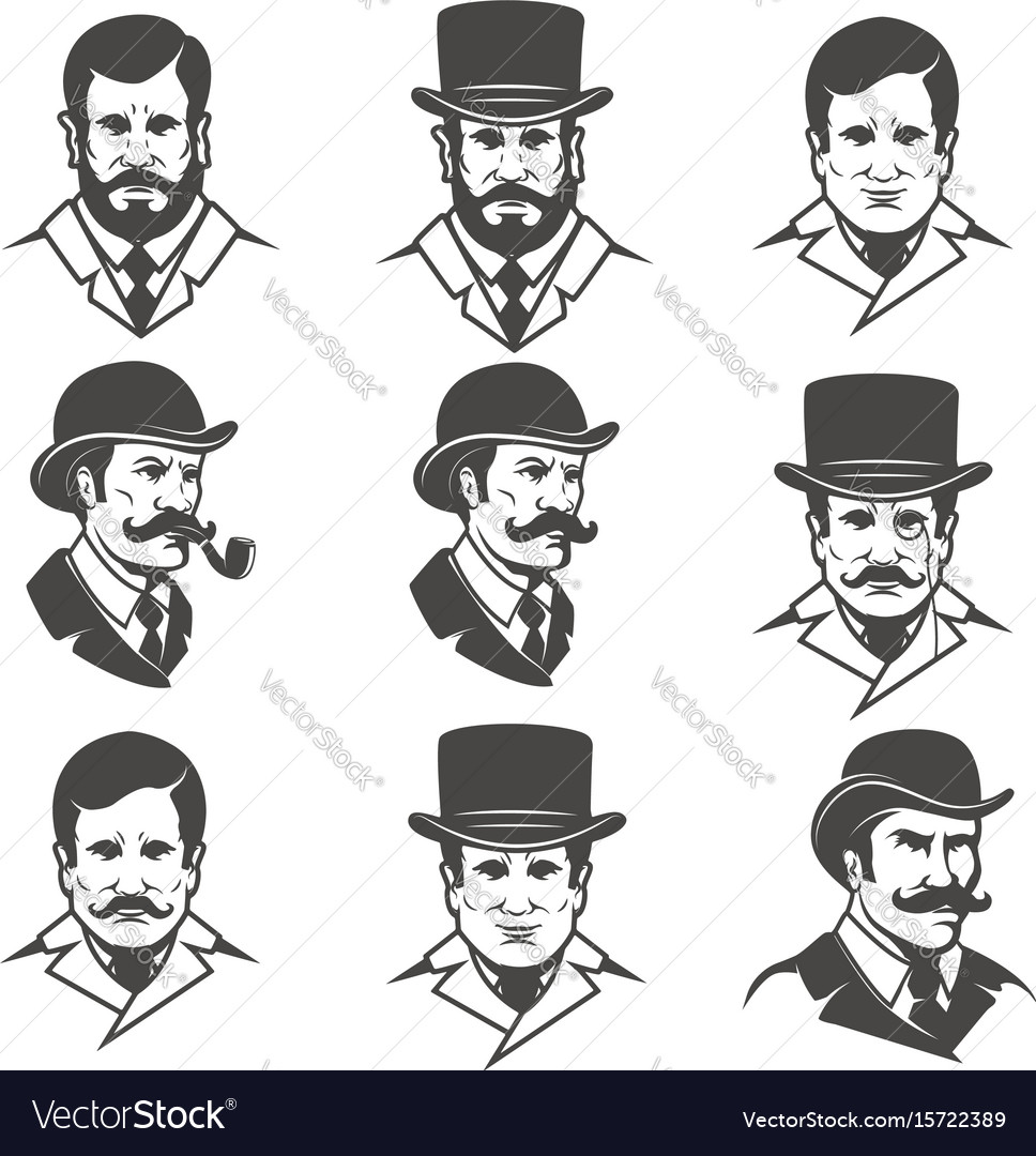 Set of gentlemans heads isolated on white vector image