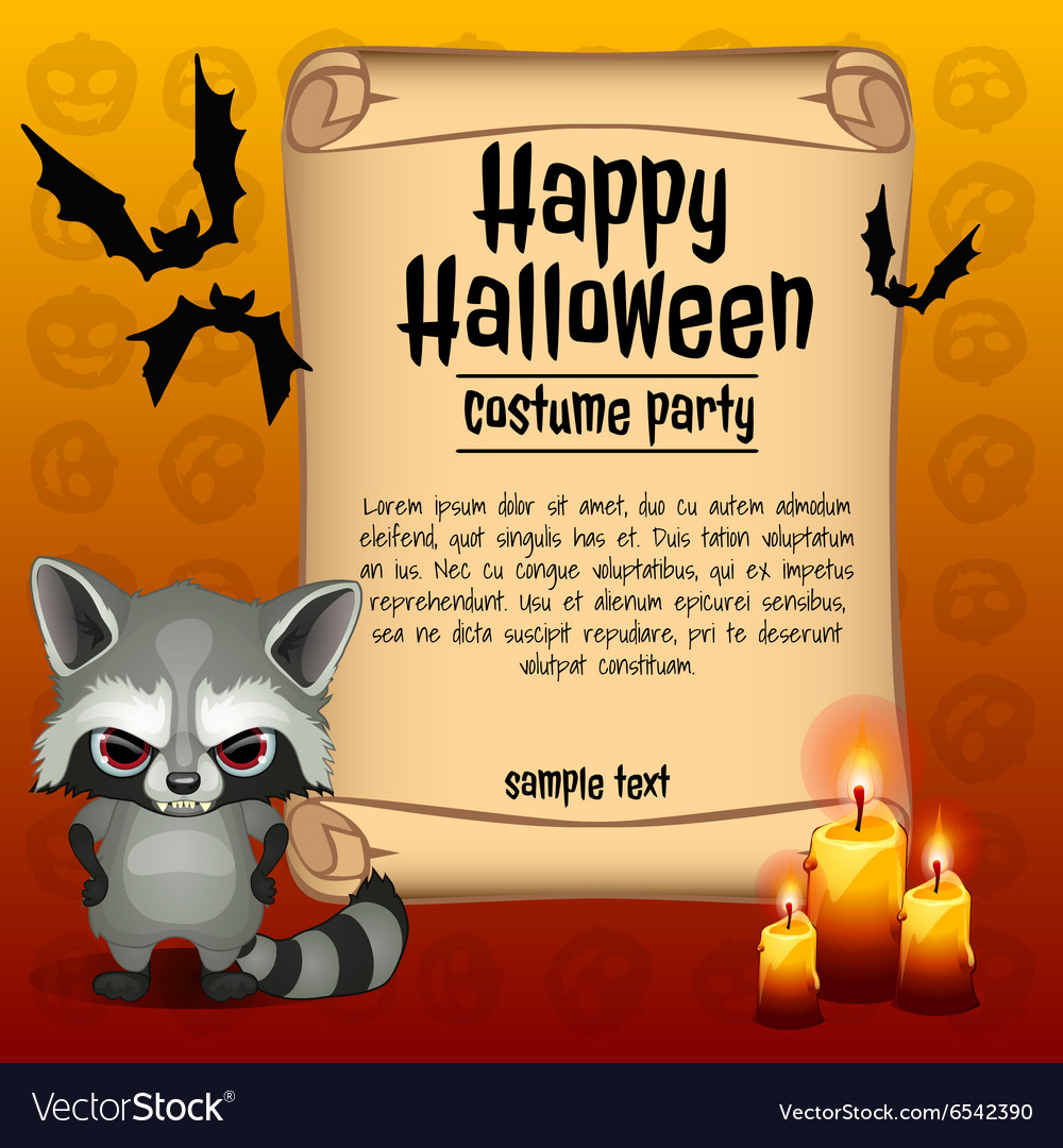 Banner happy Halloween and angry raccoon vector image