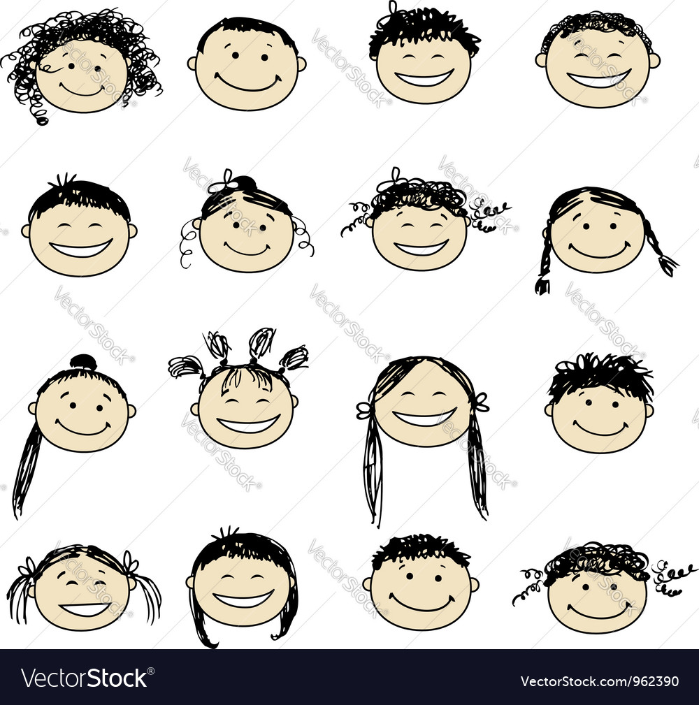Smiling people icons for your design vector image