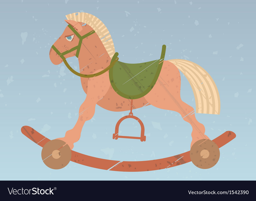 Toy rocking horse on the retro background vector image
