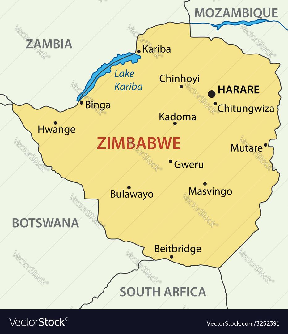 Republic of Zimbabwe map Royalty Free Vector Image