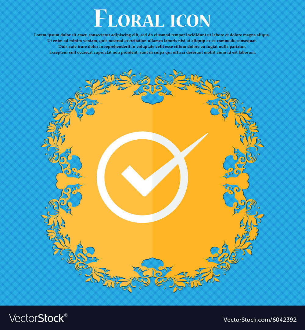 Check mark sign icon Checkbox button Floral flat vector image