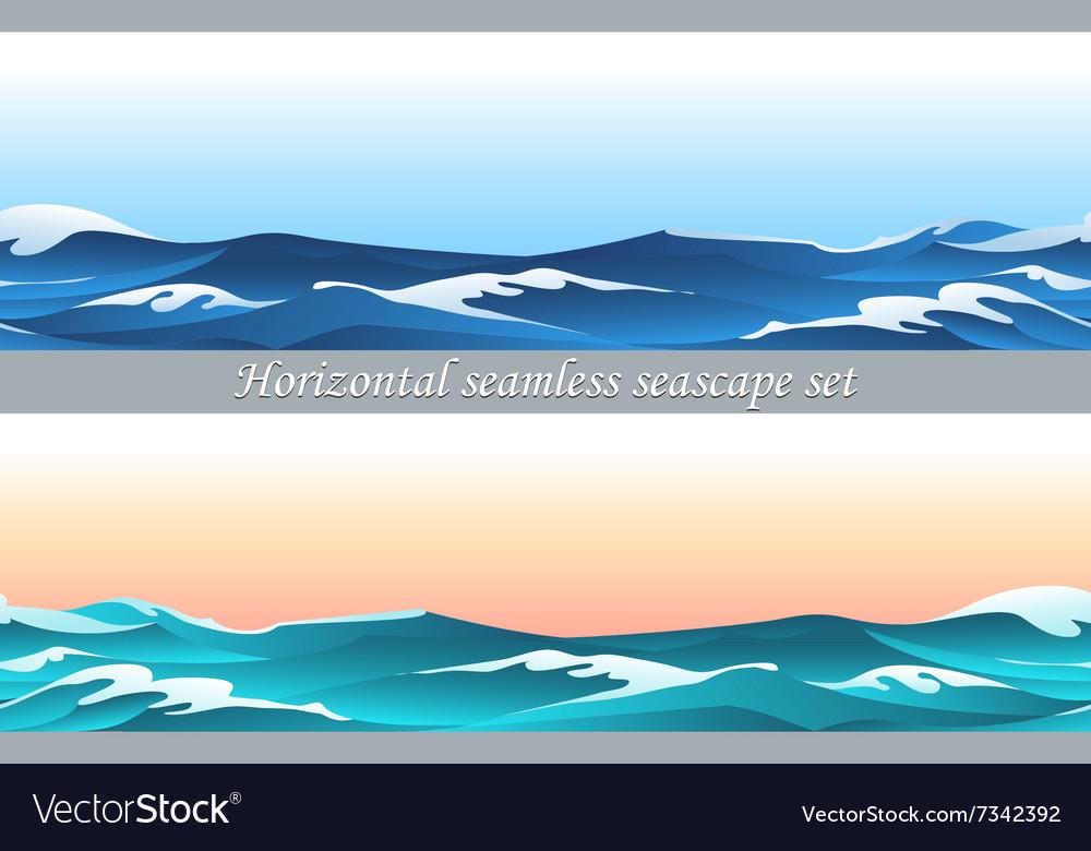Horizontal seamless seascape set vector image