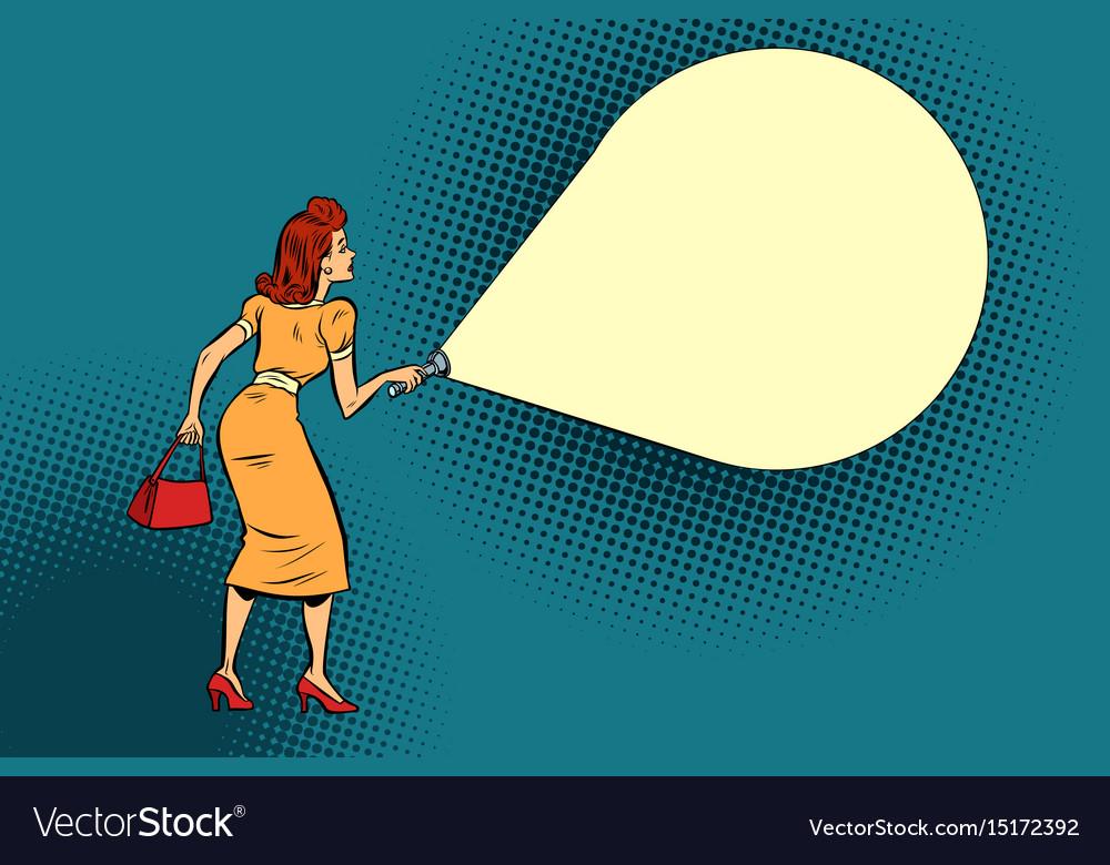 Woman light flashlight vector image