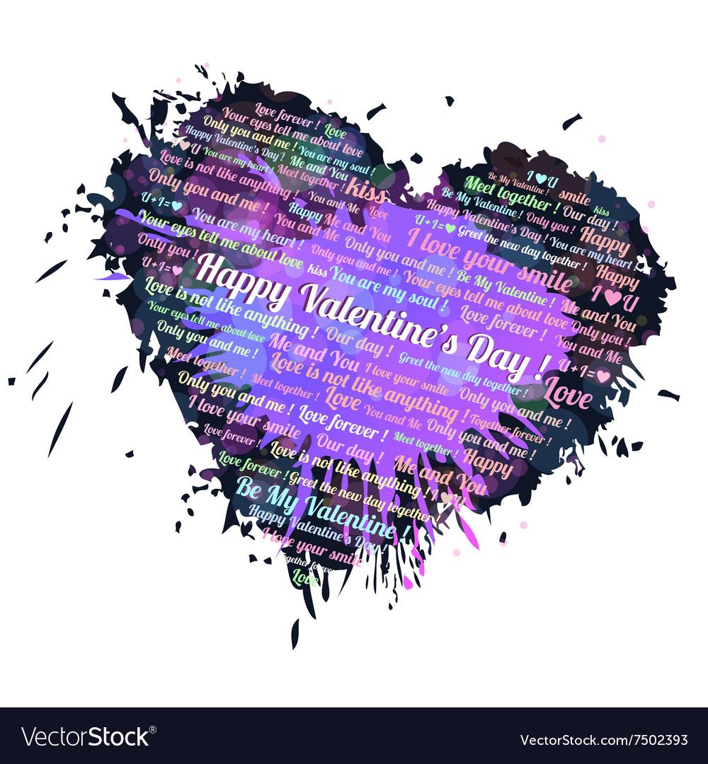 Heart blots ink vector image