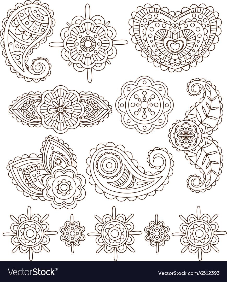 indian floral ornaments mandala henna royalty free vector