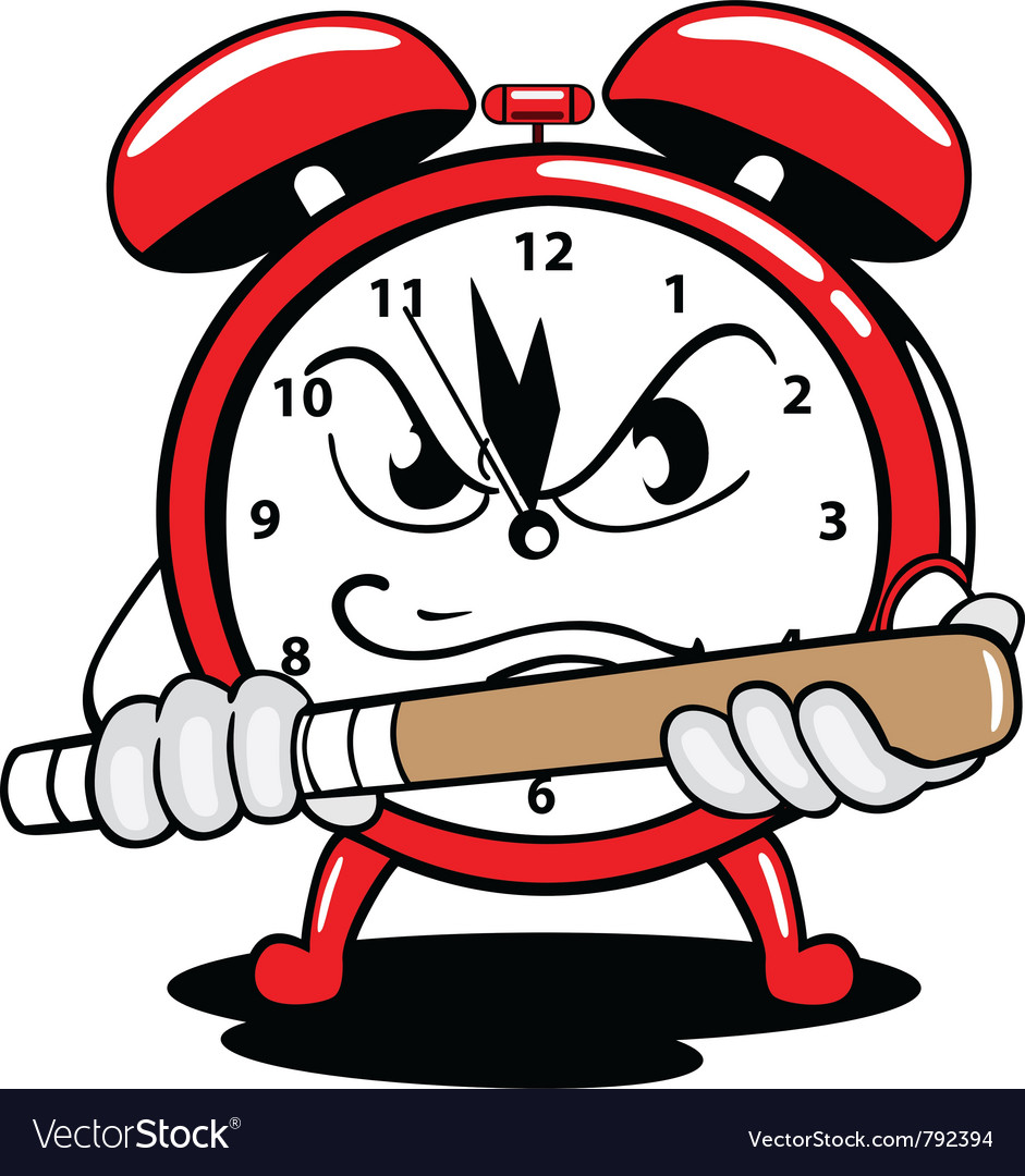 Alarm clock angry vector image