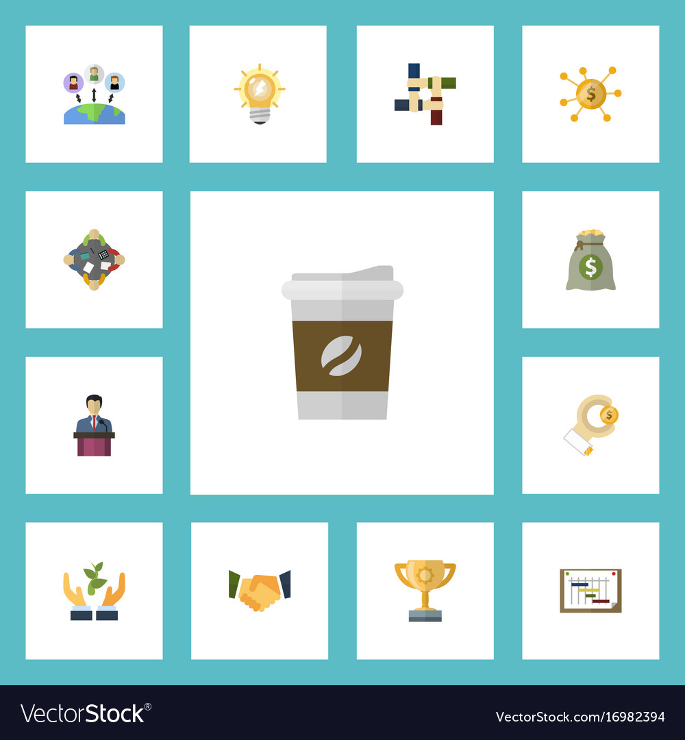 Flat icons support schedule coin and other vector image
