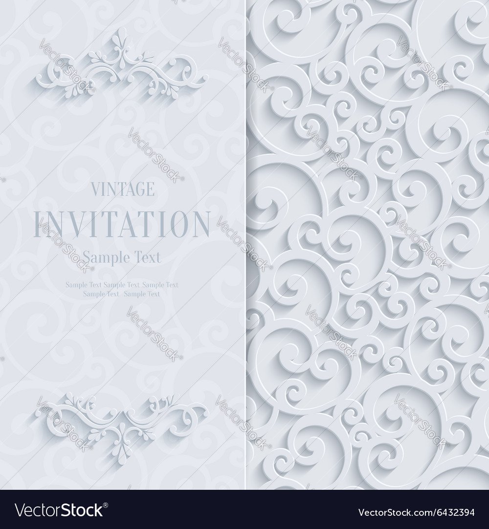 White 3d vintage invitation card with swirl vector image white 3d vintage invitation card with swirl vector image stopboris Choice Image