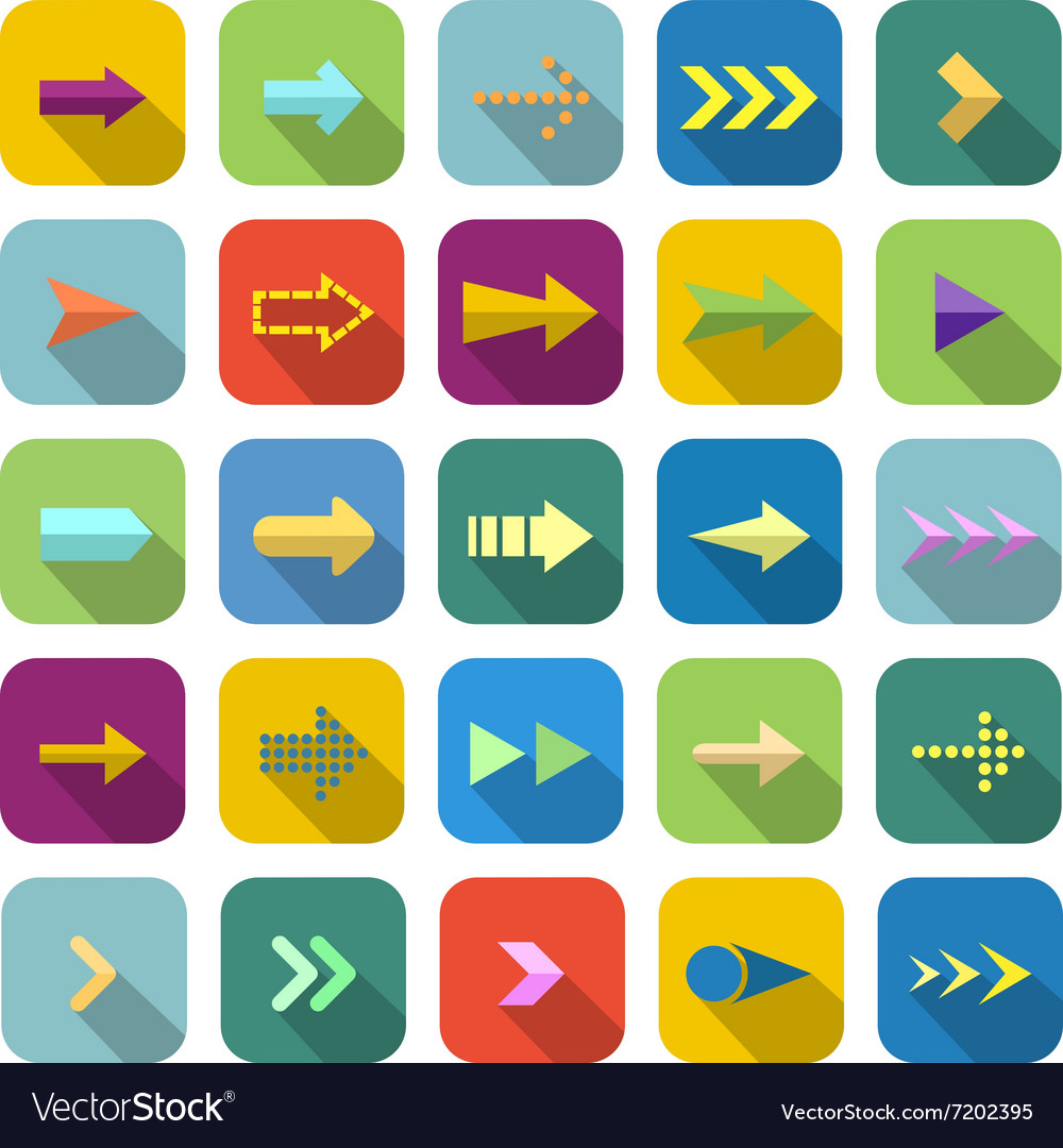 Arrow color icons with long shadow vector image